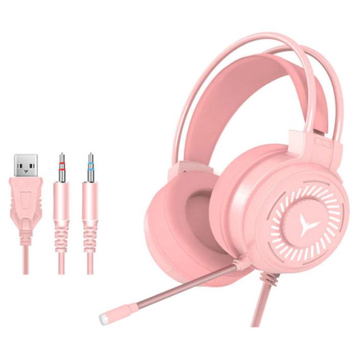 Casque de jeu filaire pour PC / Xbox / PS4 / PS5 - Casque avec microphone rose