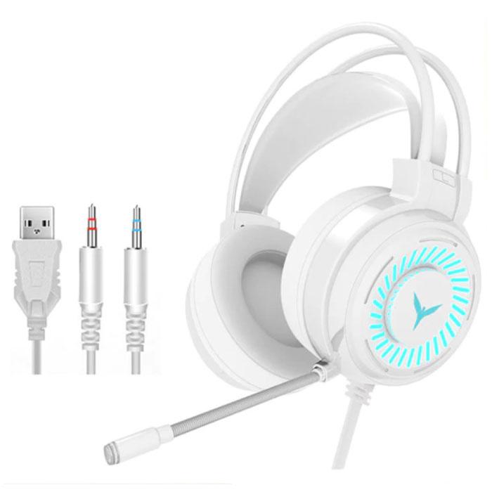 Casque de jeu filaire pour PC / Xbox / PS4 / PS5 - Casque avec microphone blanc