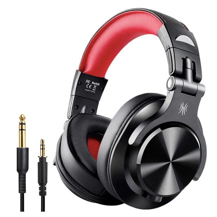 Casque Bluetooth Fusion A70 Studio avec connexion AUX 6,35 mm et 3,5 mm - Casque avec microphone Casque DJ Rouge