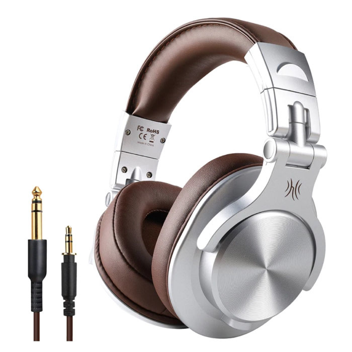 Fusion A70 Studio Bluetooth Headphones with 6.35mm and 3.5mm AUX Connection - Headset with Microphone DJ Headphones Silver