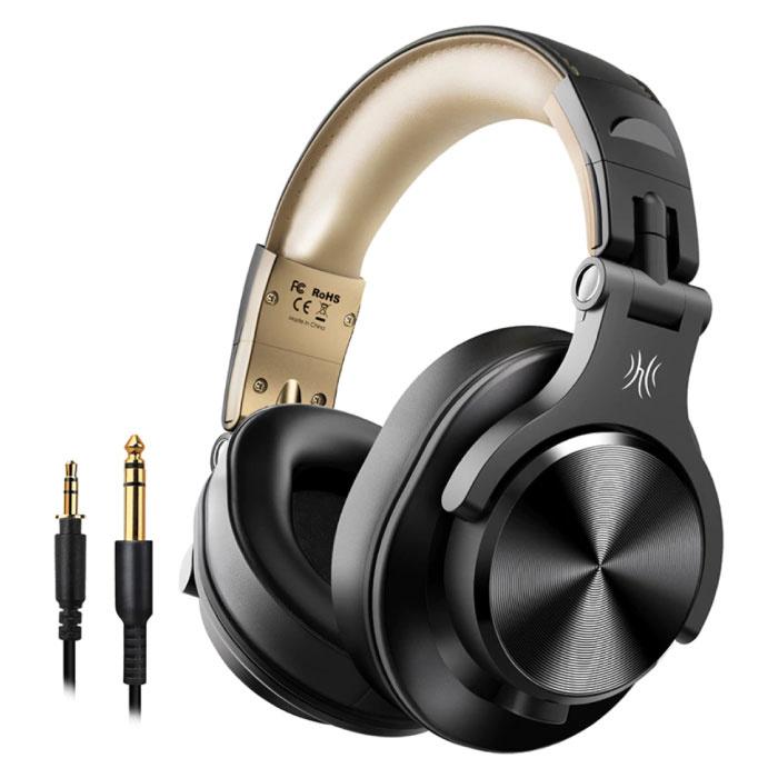 Casque Bluetooth Fusion A70 Studio avec connexion AUX 6,35 mm et 3,5 mm - Casque avec microphone Casque DJ Or