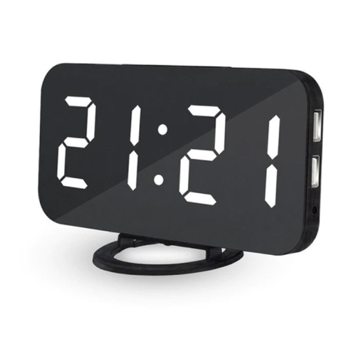 Horloge LED numérique multifonctionnelle - Réveil Miroir Alarme Snooze Réglage de la luminosité