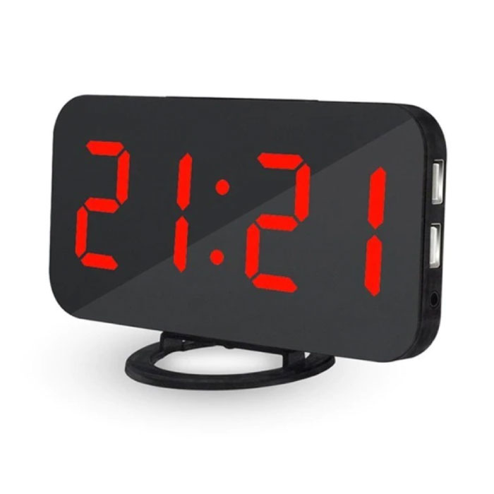 Horloge LED numérique multifonctionnelle - Réveil Miroir Alarme Snooze Réglage de la luminosité Rouge