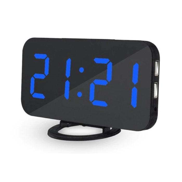 Multifunktionale digitale LED-Uhr - Wecker Spiegel Alarm Snooze Helligkeitseinstellung Blau