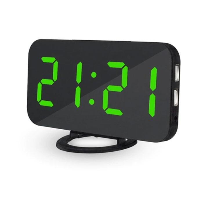 Horloge LED numérique multifonctionnelle - Réveil Miroir Alarme Snooze Réglage de la luminosité Vert