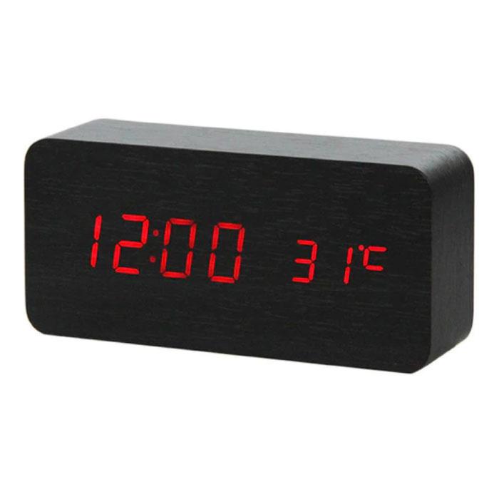 Houten Digitale LED Klok - Wekker Alarm  Snooze Temperatuur Helderheid Aanpassing Zwart