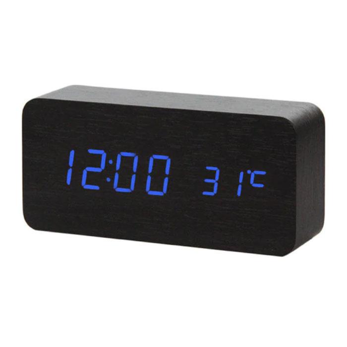 Wooden Digital LED Clock - Alarm Clock Alarm Snooze Temperature Brightness Adjustment Black