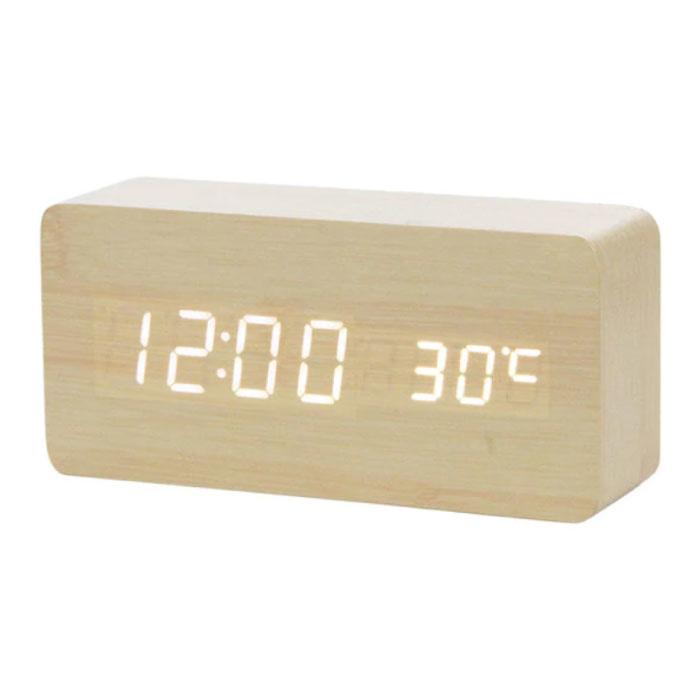 Horloge LED numérique en bois - Réveil Alarme Snooze Réglage de la luminosité de la température Marron