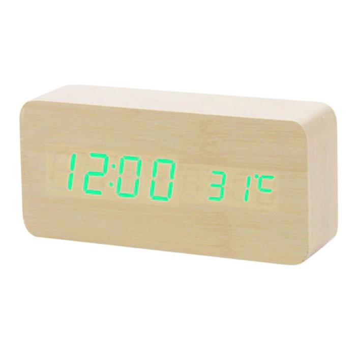 Wooden Digital LED Clock - Alarm Clock Alarm Snooze Temperature Brightness Adjustment Brown