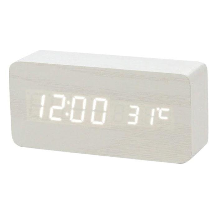 Horloge LED numérique en bois - Réveil Alarme Snooze Réglage de la luminosité de la température Blanc