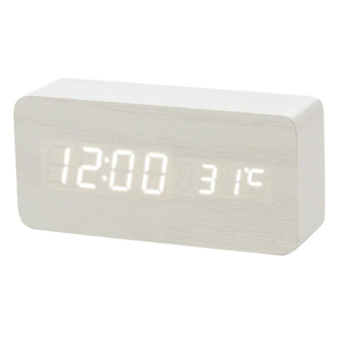 Wooden Digital LED Clock - Alarm Clock Alarm Snooze Temperature Brightness Adjustment White