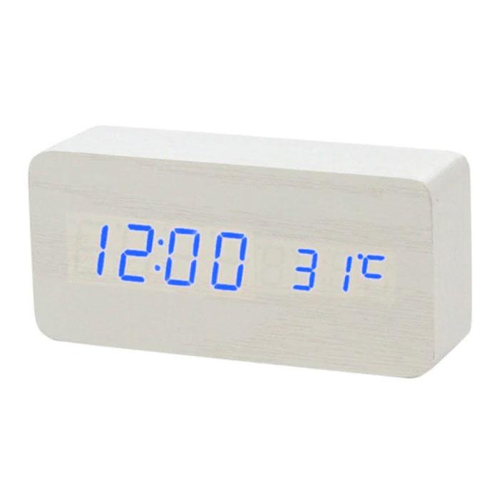 Digitale LED-Uhr aus Holz - Wecker Wecker Schlummertemperatur Helligkeitseinstellung Weiß