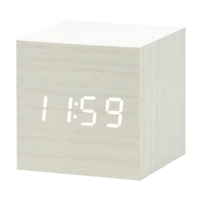 Horloge LED numérique en bois - Réveil Alarme Snooze Réglage de la luminosité Blanc