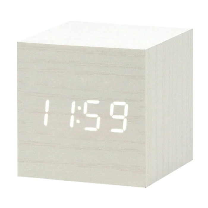 Wooden Digital LED Clock - Wecker Wecker Snooze Helligkeitseinstellung Weiß