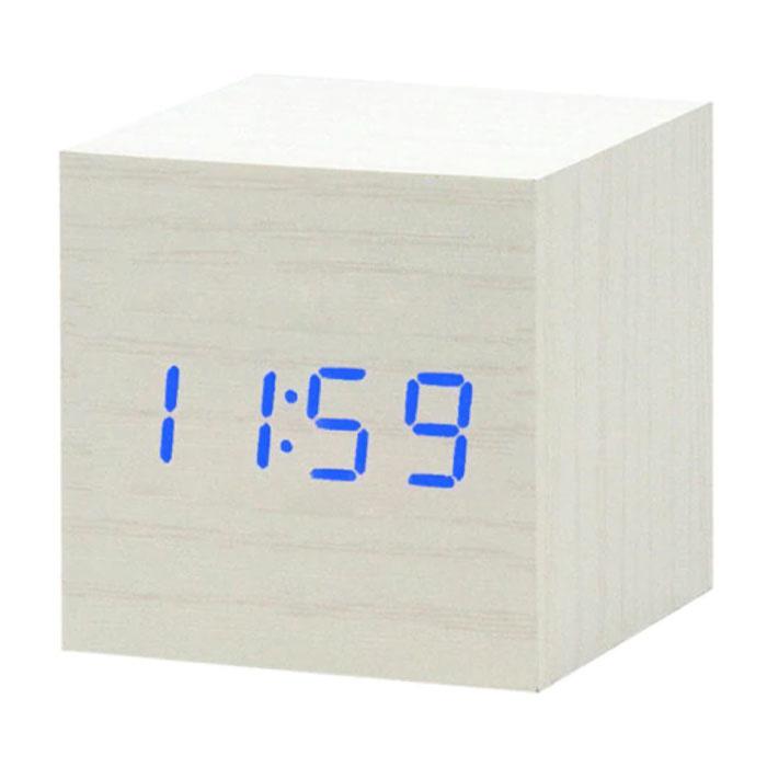 Houten Digitale LED Klok - Wekker Alarm  Snooze Helderheid Aanpassing Wit