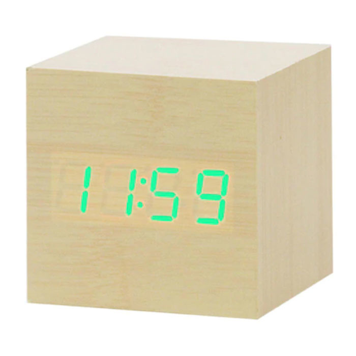 Houten Digitale LED Klok - Wekker Alarm  Snooze Helderheid Aanpassing Bruin
