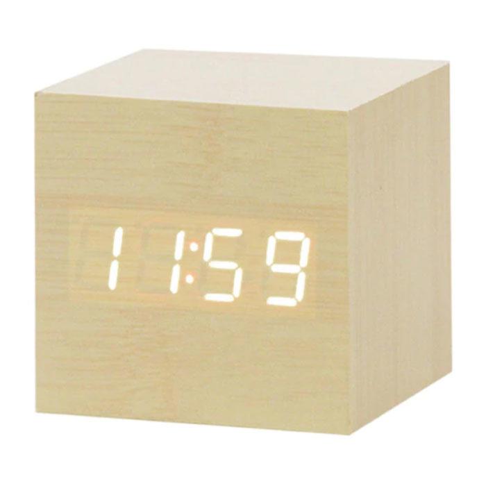 Horloge LED numérique en bois - Réveil Alarme Snooze Réglage de la luminosité Marron