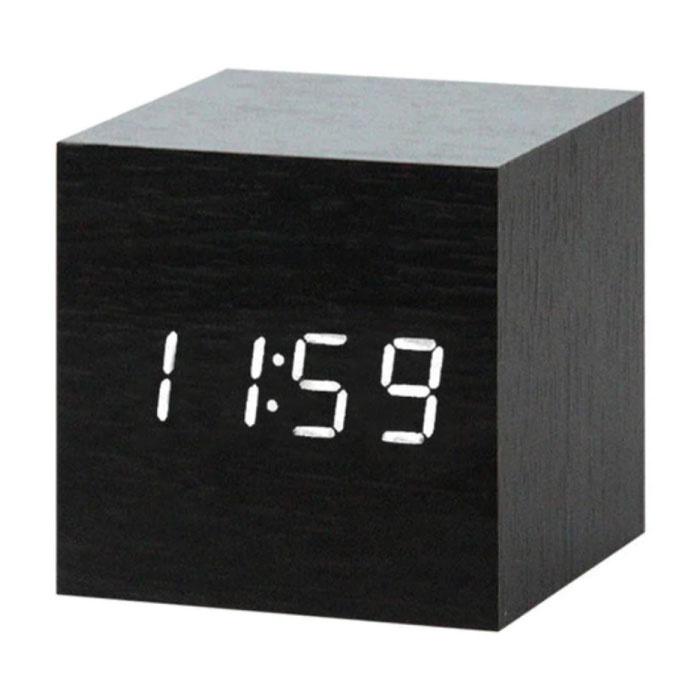 Horloge LED numérique en bois - Réveil Alarme Snooze Réglage de la luminosité Noir