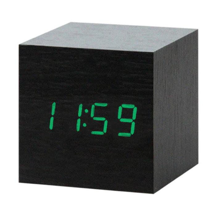 Digitale LED-Uhr aus Holz - Wecker Alarm Snooze Helligkeitseinstellung Schwarz