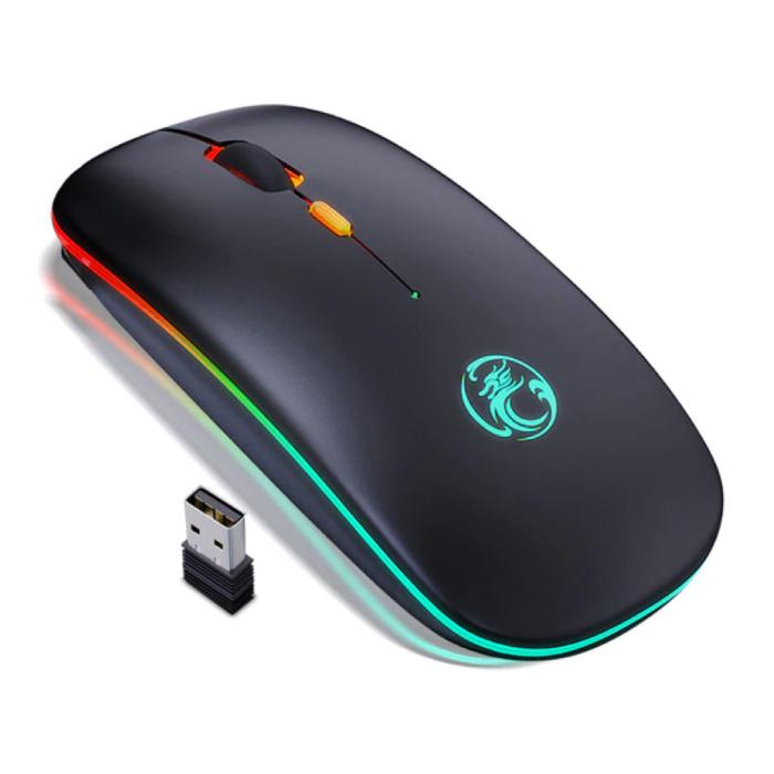 RGB Bluetooth Gaming Mouse - Drahtlose optische beidhändige Ergonomie mit DPI-Einstellung - 1600 DPI - Schwarz