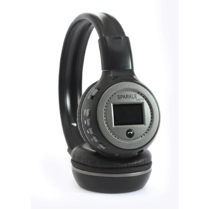 Casque sans fil B570 avec écran LED et radio FM - Casque sans fil Bluetooth 5.0 Stéréo Studio gris