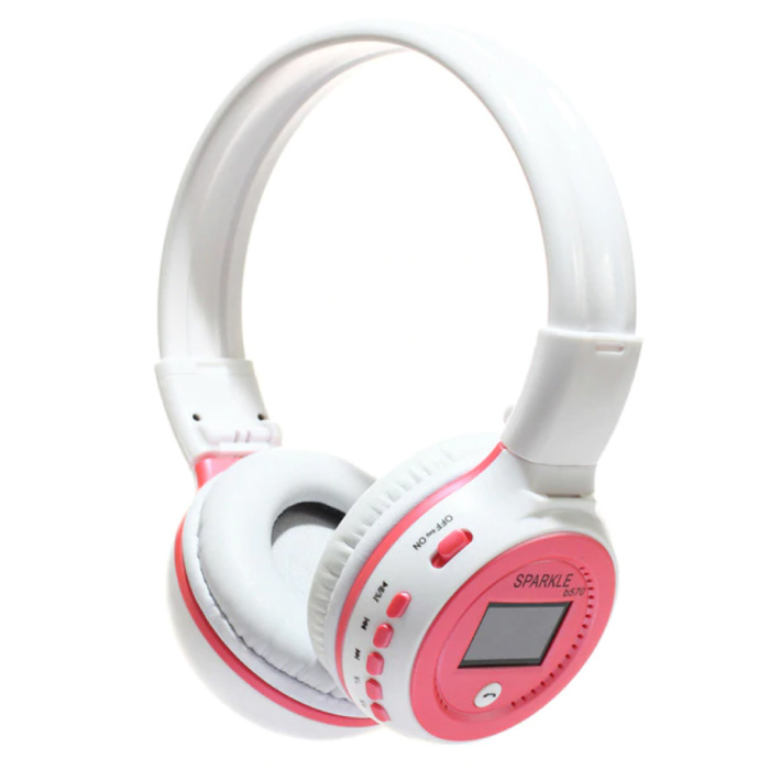 Casque sans fil B570 avec écran LED et radio FM - Casque sans fil Bluetooth 5.0 Stéréo Studio Rose
