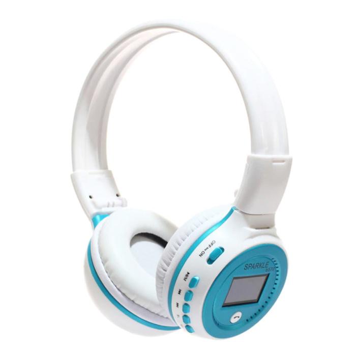 Casque sans fil B570 avec écran LED et radio FM - Casque sans fil Bluetooth 5.0 stéréo Studio bleu