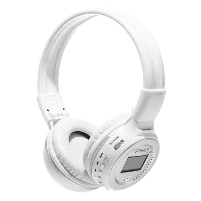 Casque sans fil B570 avec écran LED et radio FM - Casque sans fil Bluetooth 5.0 Stéréo Studio blanc