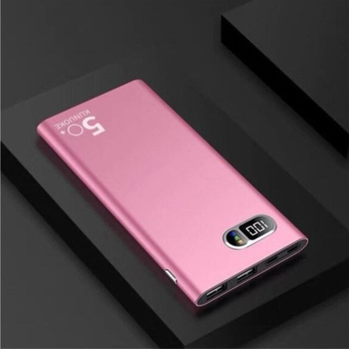 Compacte Powerbank 50.000mAh Dual 2x USB Poort  - LED Display Externe Noodaccu Oplader Charger Roze