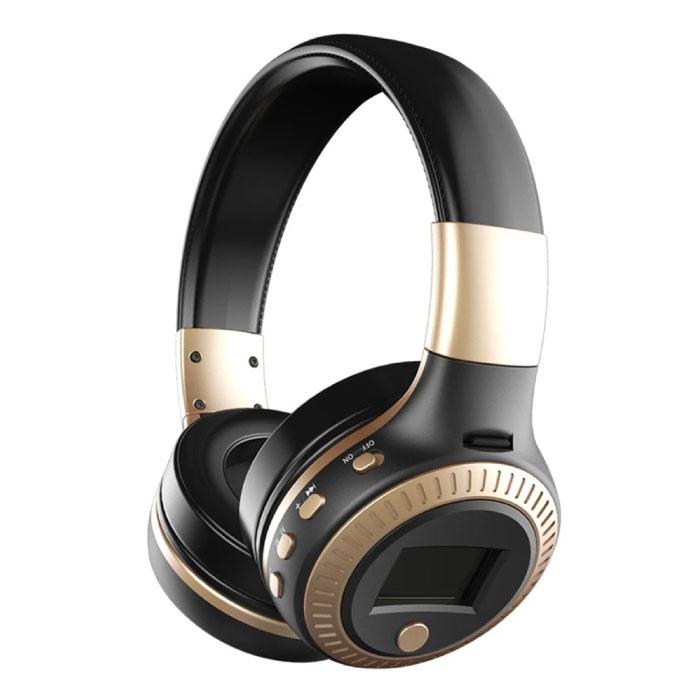B19 Wireless Headphones with LED Display and FM Radio - Bluetooth 5.0 Wireless Headphones Stereo Studio Gold