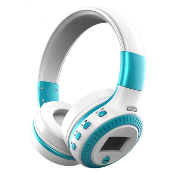 Casque sans fil B19 avec écran LED et radio FM - Casque sans fil Bluetooth 5.0 stéréo Studio bleu