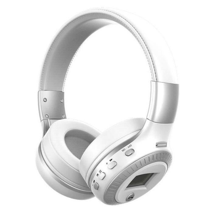 Casque sans fil B19 avec écran LED et radio FM - Casque sans fil Bluetooth 5.0 Stéréo Studio Blanc
