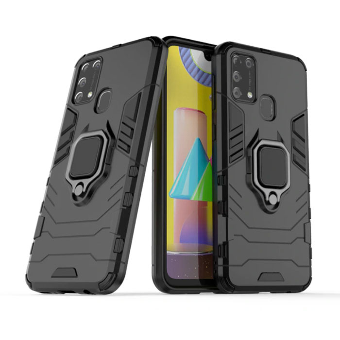 Samsung Galaxy A30 Hoesje  - Magnetisch Shockproof Case Cover Cas TPU Zwart + Kickstand