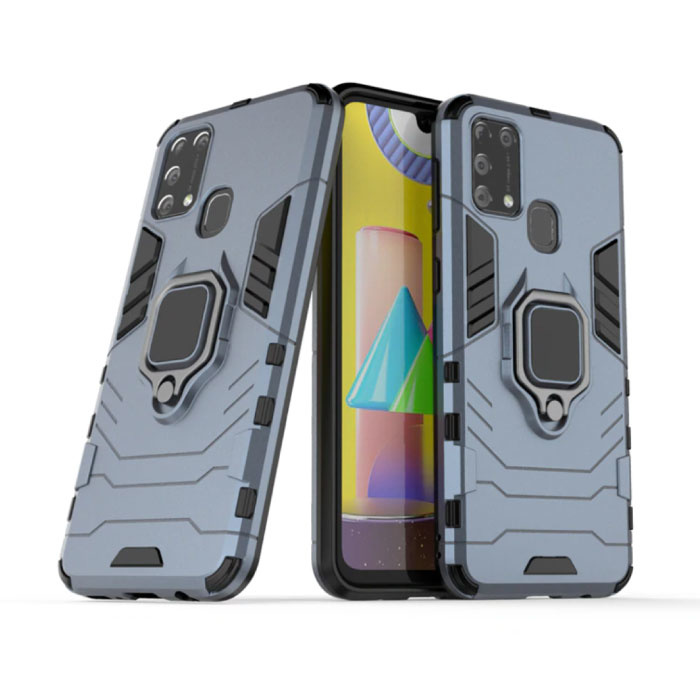 Samsung Galaxy A10 Hoesje  - Magnetisch Shockproof Case Cover Cas TPU Blauw + Kickstand