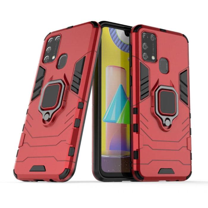 Coque Samsung Galaxy A31 - Coque Antichoc Magnétique Cas TPU Rouge + Béquille