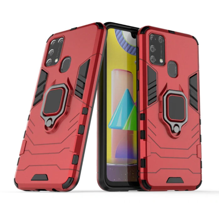 Samsung Galaxy A31 Hoesje  - Magnetisch Shockproof Case Cover Cas TPU Rood + Kickstand