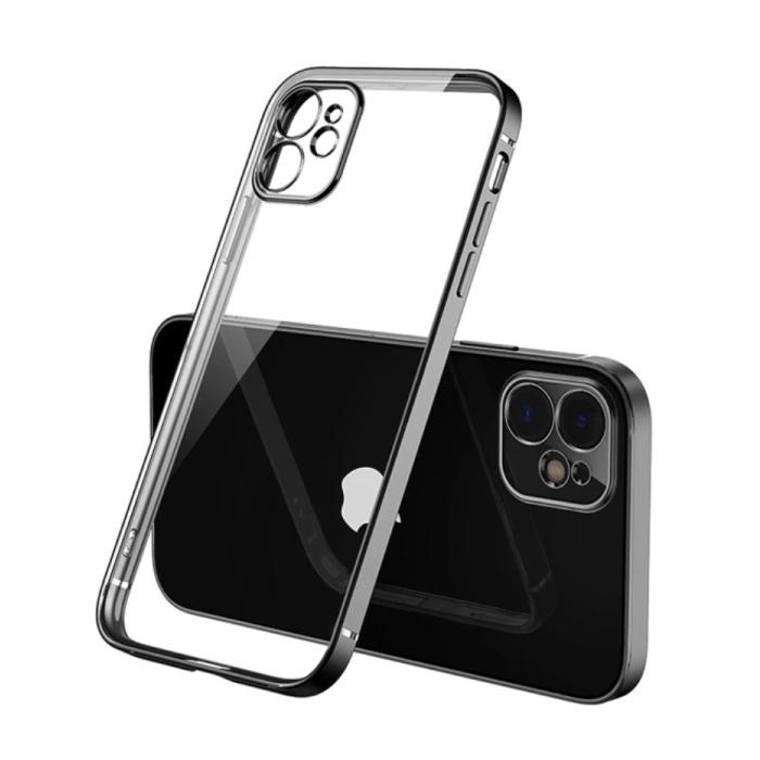 iPhone 12 Hoesje Luxe Frame Bumper - Case Cover Silicone TPU Anti-Shock Zwart