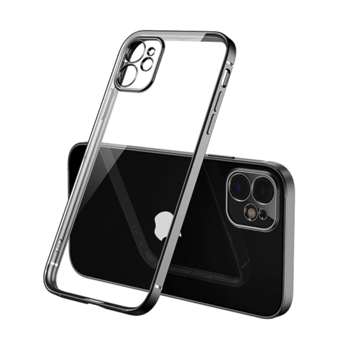iPhone 12 Pro Max Hoesje Luxe Frame Bumper - Case Cover Silicone TPU Anti-Shock Zwart