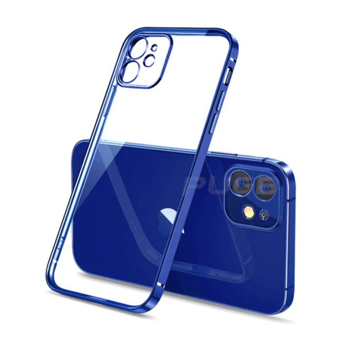 iPhone 12 Hoesje Luxe Frame Bumper - Case Cover Silicone TPU Anti-Shock Blauw
