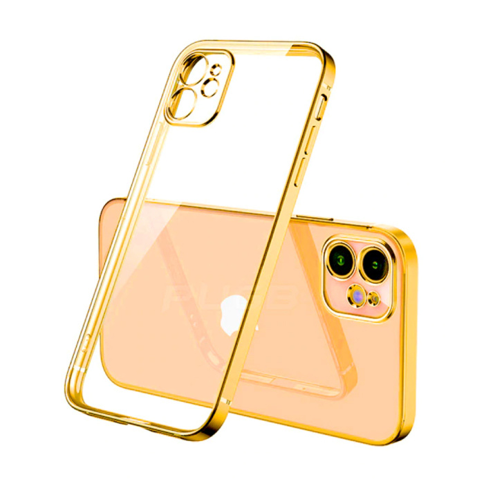 iPhone 12 Hoesje Luxe Frame Bumper - Case Cover Silicone TPU Anti-Shock Goud
