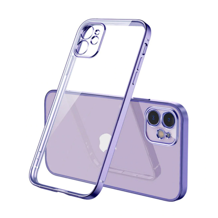 iPhone 12 Hoesje Luxe Frame Bumper - Case Cover Silicone TPU Anti-Shock Paars