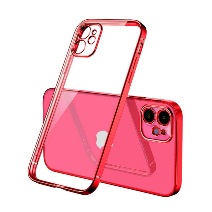 iPhone 12 Pro Max Hoesje Luxe Frame Bumper - Case Cover Silicone TPU Anti-Shock Rood