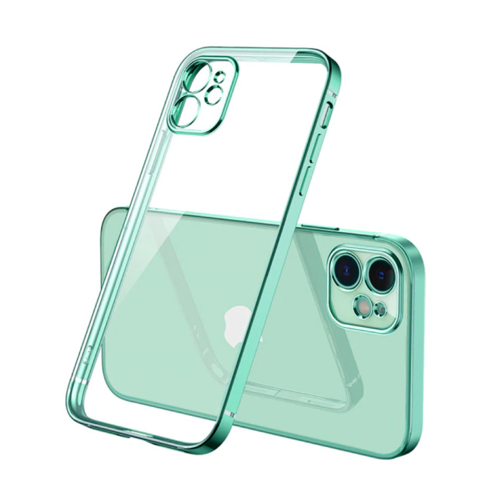 iPhone 11 Pro Max Hoesje Luxe Frame Bumper - Case Cover Silicone TPU Anti-Shock Lichtgroen