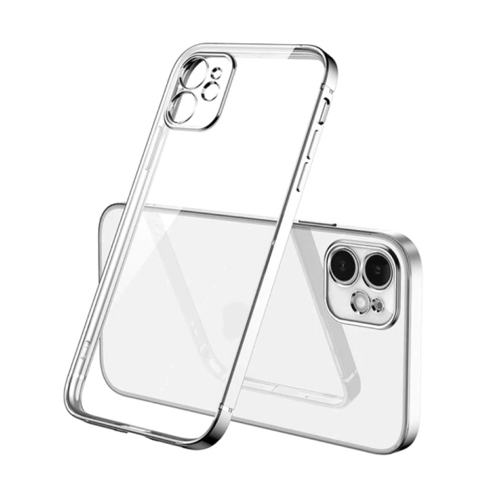 iPhone 12 Hoesje Luxe Frame Bumper - Case Cover Silicone TPU Anti-Shock Zilver