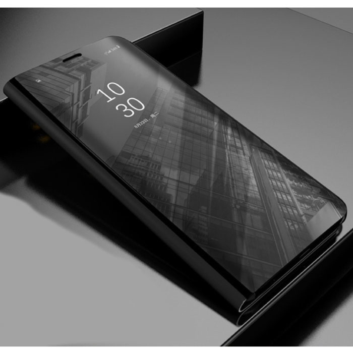 Huawei P30 Smart Mirror Flip Case Cover Case Black