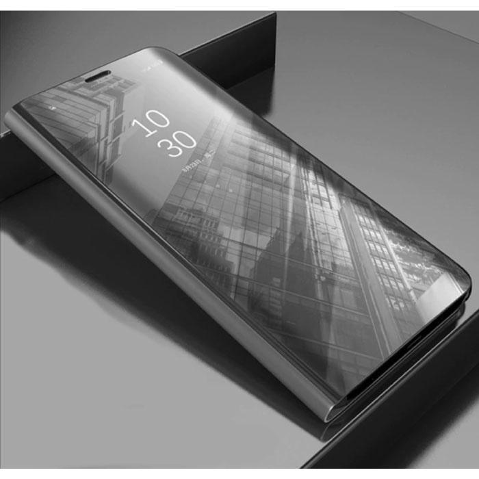 Huawei Y7 2019 Smart Spiegel Flip Case Cover Case Silber