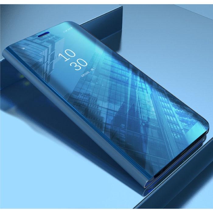 Huawei P20 Smart Spiegel Flip Case Cover Hülle Blau