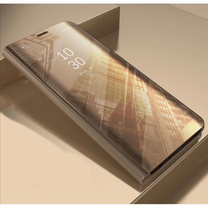 Huawei Y6 2019 Smart Spiegel Flip Case Cover Hoesje Goud