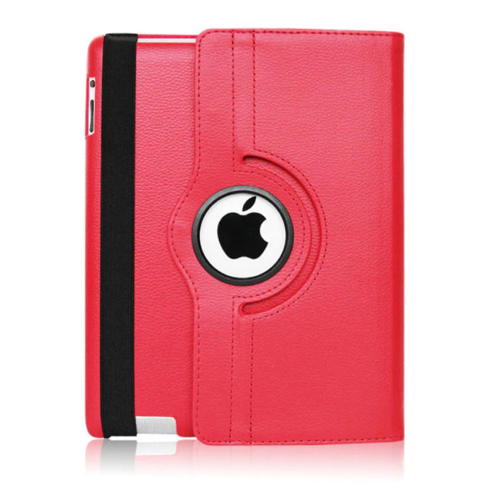 """Leren Vouwbare Cover voor iPad 2017 (9.7"""") - Multifunctioneel Hoesje Case Rood"""