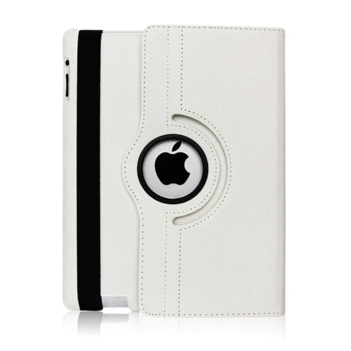 """Leren Vouwbare Cover voor iPad 2017 (9.7"""") - Multifunctioneel Hoesje Case Wit"""